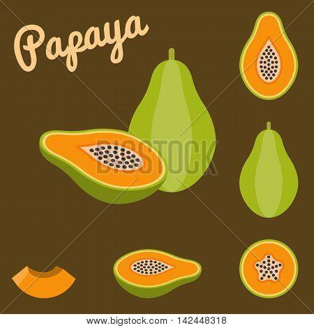 Vector papaya and half papaya set, flat design