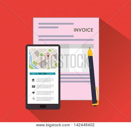 smartphone pen document payment financial item icon. Invoice design, vector illustration