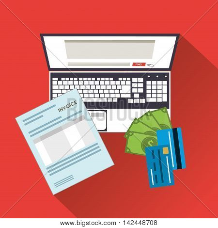 laptop credit card document payment financial item icon. Invoice design, vector illustration