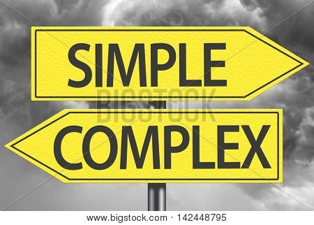 Simple x Complex yellow sign