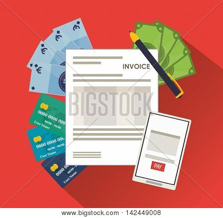 smartphone bills document payment financial item icon. Invoice design, vector illustration