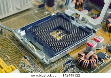 Socket on the motherboard CPU executed in yellow PCB