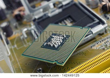 slot that accepts a processor on the motherboard and processor