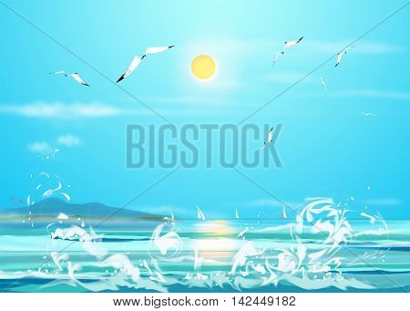 Caribbean summer sea with blue water wave. Tropical summer sea paradise. Heaven view of deep transparent ocean. Sunshine reflection on a calm summer ocean. Tranquility of turquoise sea water. Sea waves beach landscape. Digital illustration, Hand drawn.