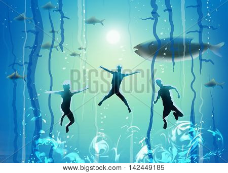 Under the sea. Underwater diving. Under ocean, Under the sea, abstract illustration. Boys swim under the sea. Sea diving. Sea life. Sea Party, Summer Sea wave. Group of Kids swimming. Sea divers. Diving sport. Art digital illustration, painting