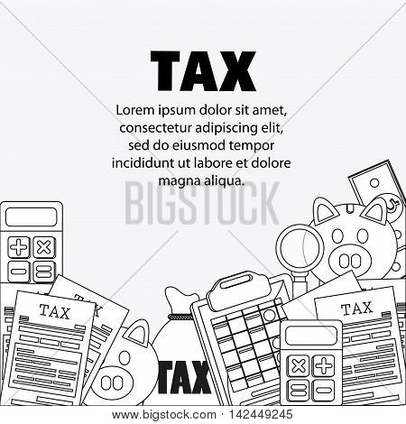 document calculator bag piggy lupe icon. Tax design. Silhouette and flat illustration