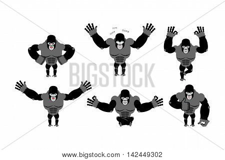 Gorilla Set  Poses. Expression Of Emotions Monkey. Wild Beast And Evil Good. Sad And Happy Animal. B