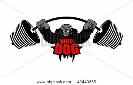 Strong Dog And Barbell. Aggressive Sportsman Big Bulldog. Angry Wild Animal Bodybuilder. Emblem For