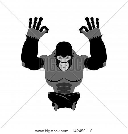 Gorilla Meditating. Wild Animals On White Background. Status Of Nirvana And Enlightenment. Lotus Pos