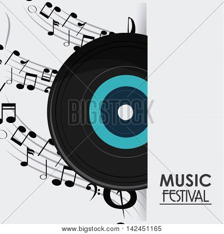 music note vinyl sound media festival icon. Flat and colorful illustration