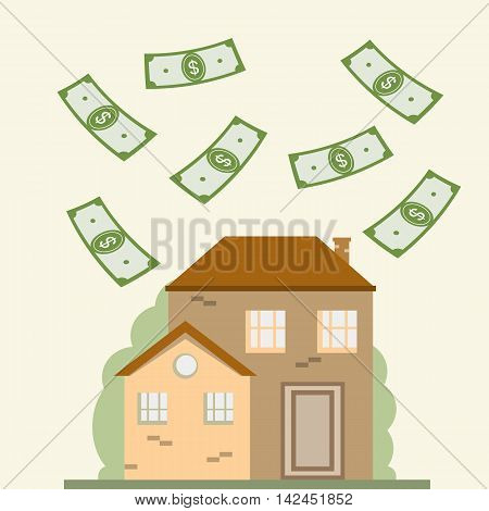 House and dollars. Mortgage, real estate, investment concept. Save money for house. Vector illustration flat design for business financial marketing banking advertising