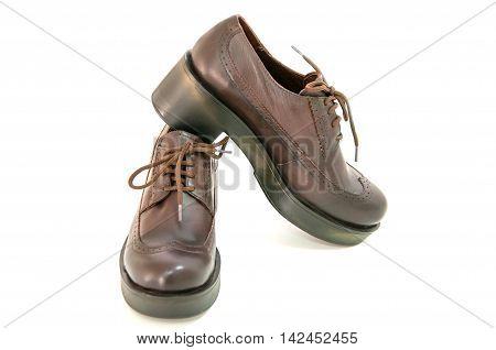 Women boots isolated on white background.Leather shoes.