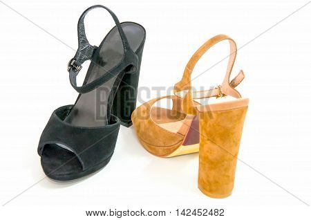 Womens open-toe isolated on white.Leather shoes style.