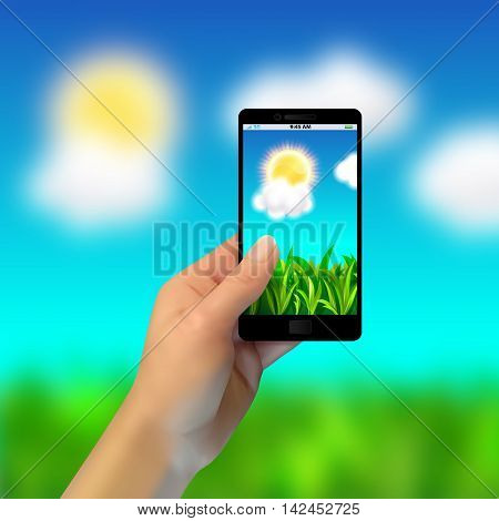 Realistic Hand Holding A Phone, Takes Pictures Of Nature, Blurred Background