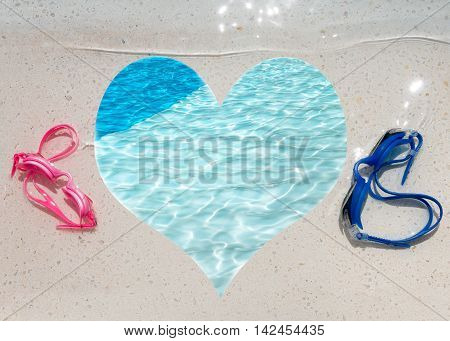 Poster or sign for water spots and swimming to announce events connected to summer vacations and fun outdoor Leisure Activity heart shape copy space and room for text