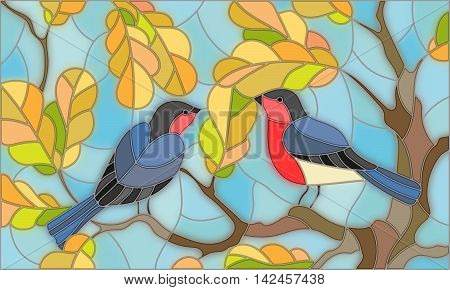 Illustration in stained glass style on the theme of autumn two bullfinches in the sky and oak leaves