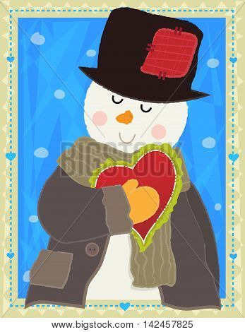 Cute design of a snowman holding a heart in front of a decorative background. Eps10