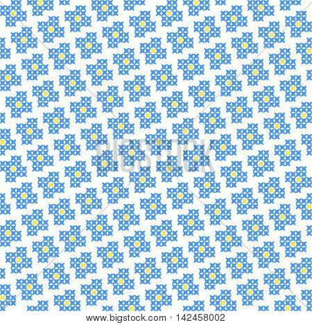 Seamless embroidered texture of flat blue patterns on canvas blossoms cross-stitch ornament for cloth