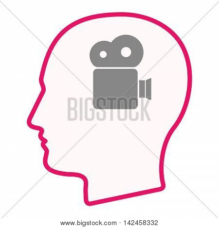 Isolated Male Head Silhouette Icon With A Film Camera