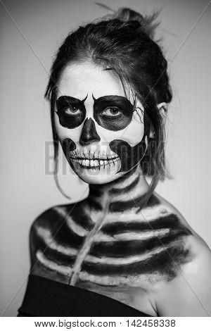 Woman Painted Like A Zombie