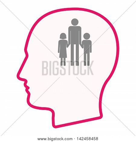 Isolated Male Head Silhouette Icon With A Male Single Parent Family Pictogram