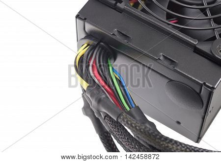 Computer's power supplies Cables isolated on white