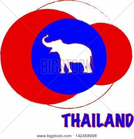 Thailand flag eith an elephant silhouette for printing
