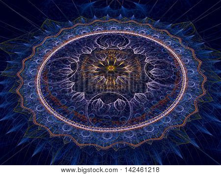 Abstract mandala flower - computer-generated image. Sacred geometry. Fractal art: complex mystical pattern. For web design, covers, posters.