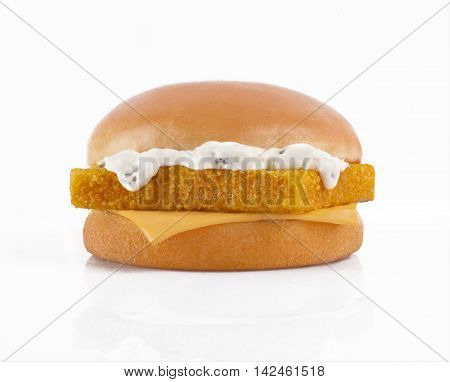 Bright photo of tasty burger with fish fillet on a white background