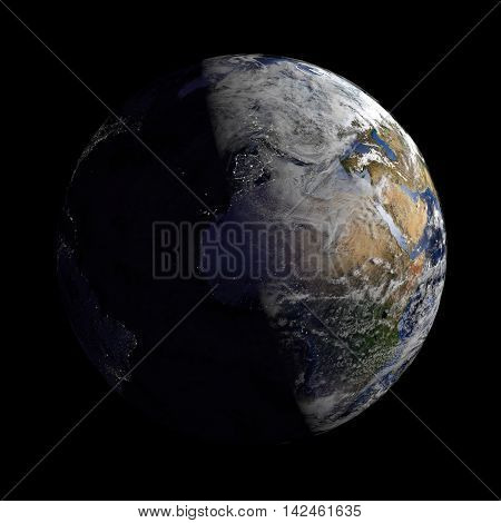 Planet Earth With Night And Day And Clouds Black