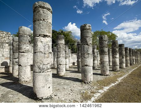 Ancient temple ruins in Maya city, Mexico