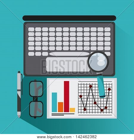 laptop document glasses infographic lupe pen icon. Company rosource design. colorful and flat illustration