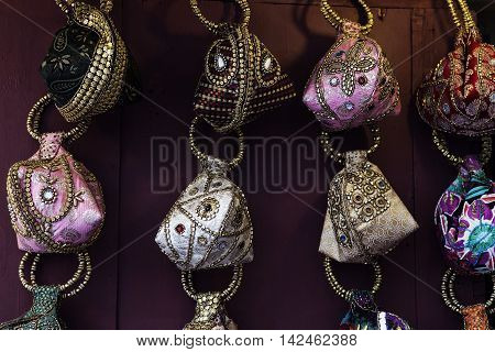 small brights handcrafts souvenirs in market in India