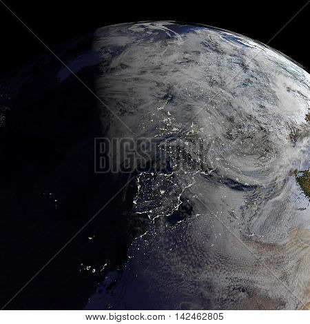 3d render of a Planet Earth model showing spanish city lights at night. Elements of this image furnished by NASA