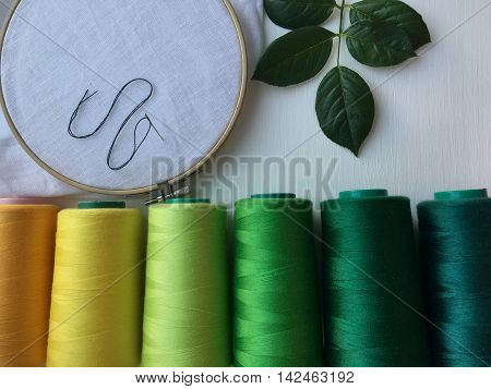 Wooden hoop fabric and thread for needlework