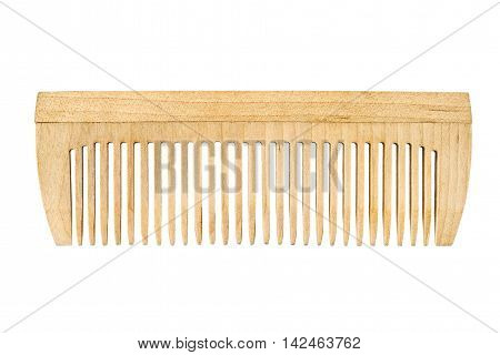Modern wooden comb isolated on white background