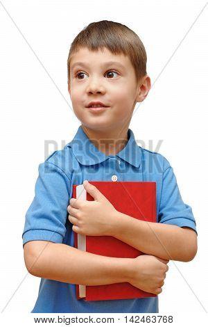 Child holding book isolated on white background