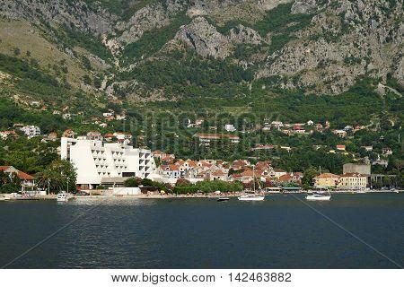 View on town of Risan, Kotor Bay, Montenegro