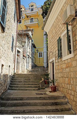 Typical narrow street in town of Herceg Novi Montenegro