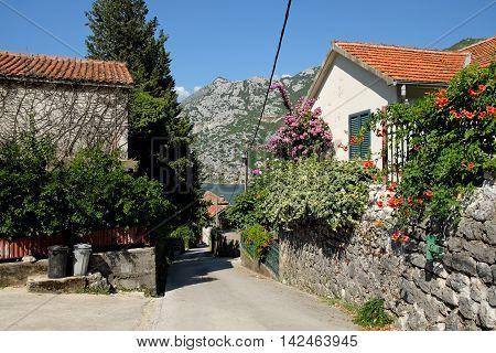 Street in town of Risan, Kotor Bay, Montenegro
