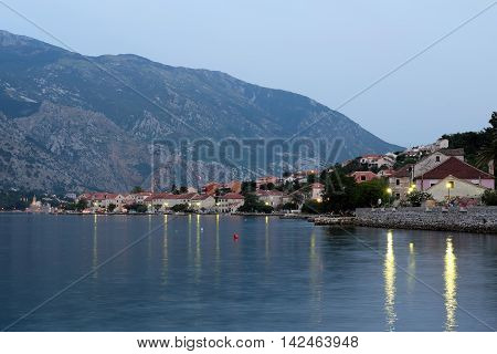 Evening view of town Prcanj in Bay of Kotor Montenegro