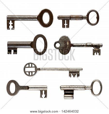 Set of old keys isolated on white background