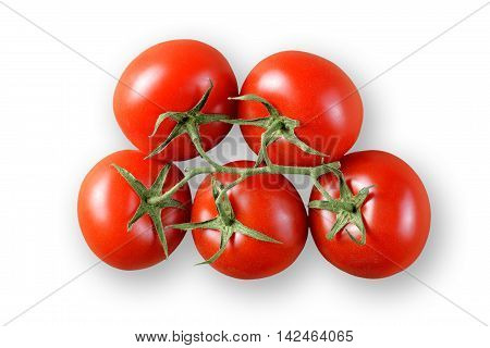 Ripe cherry tomatoes isolated on white background