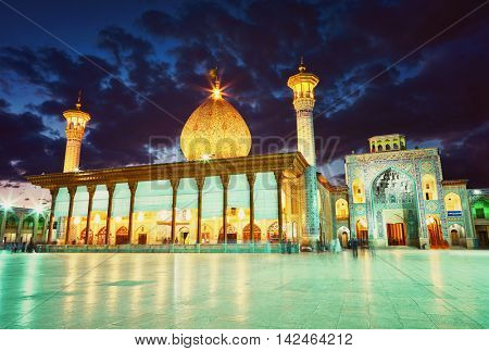 Shah Cheragh mosque after sunset. Shiraz, Iran
