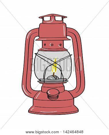 kerosene lamp in the background. vector illustration