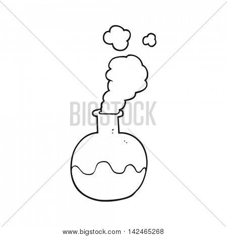 freehand drawn black and white cartoon chemical reaction