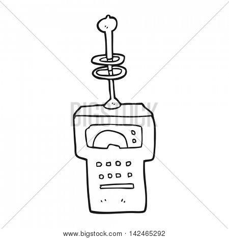 freehand drawn black and white cartoon futuristic scanner