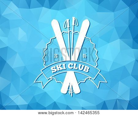 Vintage skiing resort or mountain patrol label, emblem or logo with ski and ski poles on blue ice background