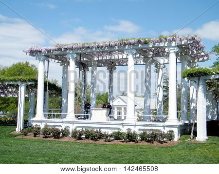Arlington USA - April 9 2010: The Old Memorial Amphitheatre in Arlington National Cemetery.