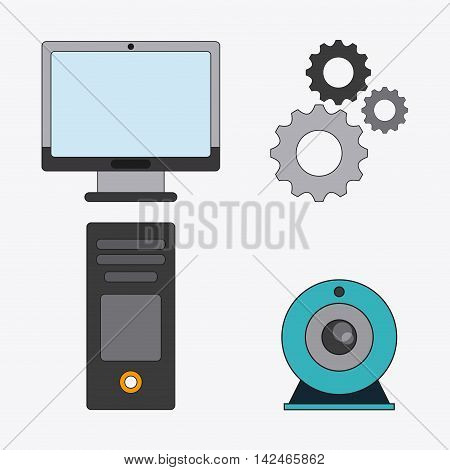 computer gears webcam connect communications social network icon. colorful illustration